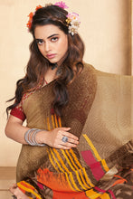 Load image into Gallery viewer, Bhelpuri Brown Georgette Printed Saree with Blouse Piece