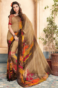 Bhelpuri Brown Georgette Printed Saree with Blouse Piece