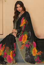 Load image into Gallery viewer, Bhelpuri Black Georgette Printed Saree with Blouse Piece