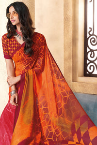 Bhelpuri Orange Georgette Printed Saree with Blouse Piece