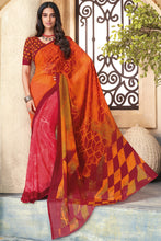 Load image into Gallery viewer, Bhelpuri Orange Georgette Printed Saree with Blouse Piece