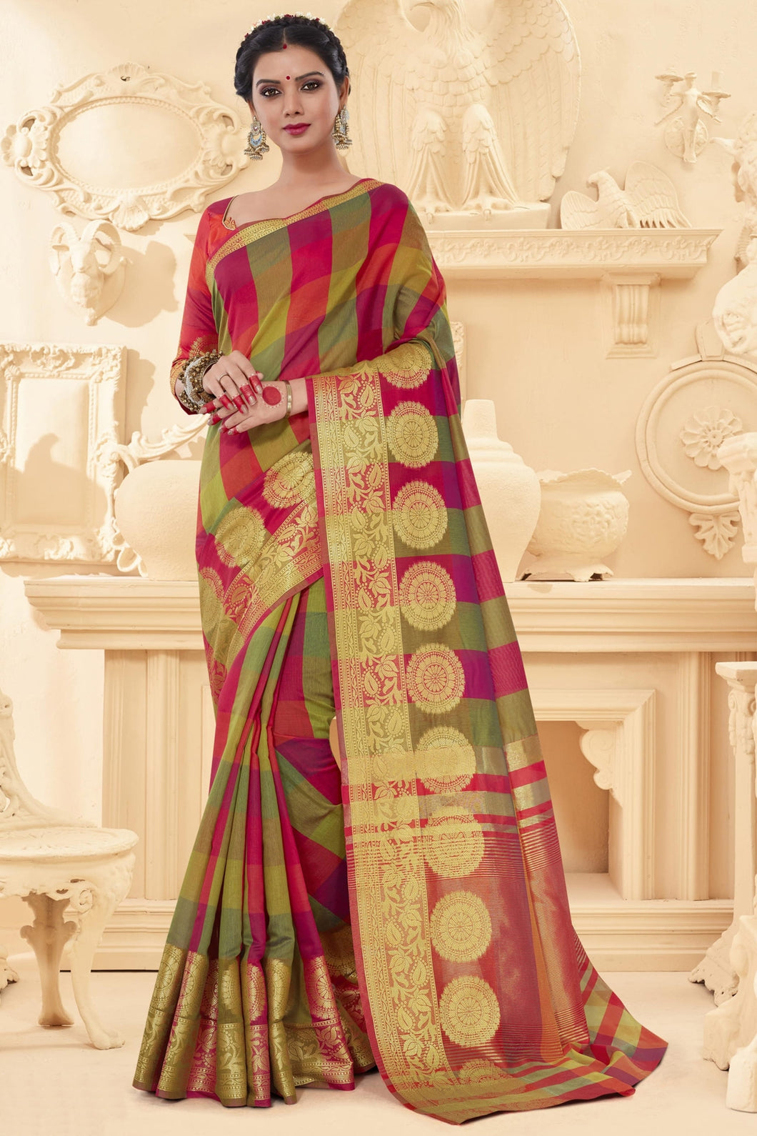 Bhelpuri Multi Art Silk Printed Saree with Art Silk Blouse Piece