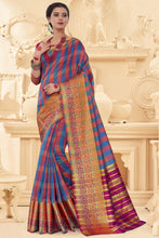 Load image into Gallery viewer, Bhelpuri Light Blue Art Silk Printed Saree with Blouse Piece