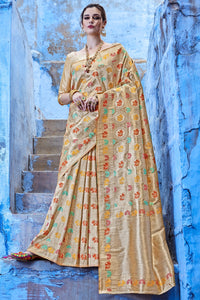 Bhelpuri Cream And Gold Raw Silk Woven Saree with Raw Silk Blouse Piece