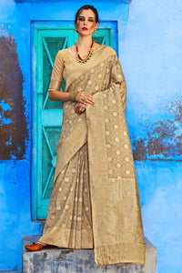 Bhelpuri Grey And Gold Raw Silk Woven Saree with Raw Silk Blouse Piece
