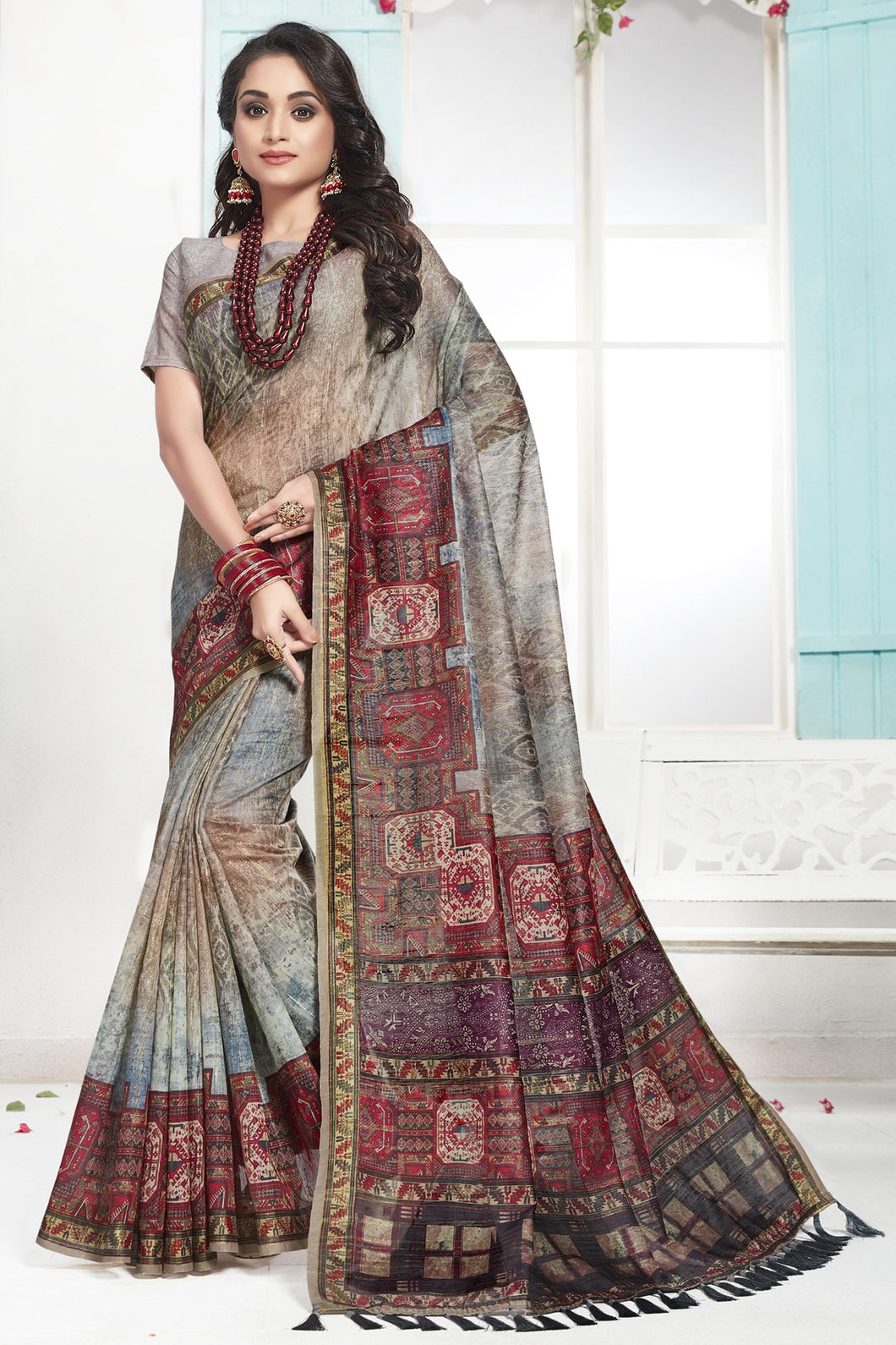 Bhelpuri Multicoloured Color Cotton Printed Saree with Blouse Piece