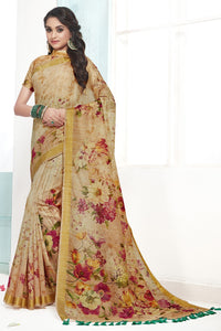 Bhelpuri Beige Cotton Printed Saree with Blouse Piece