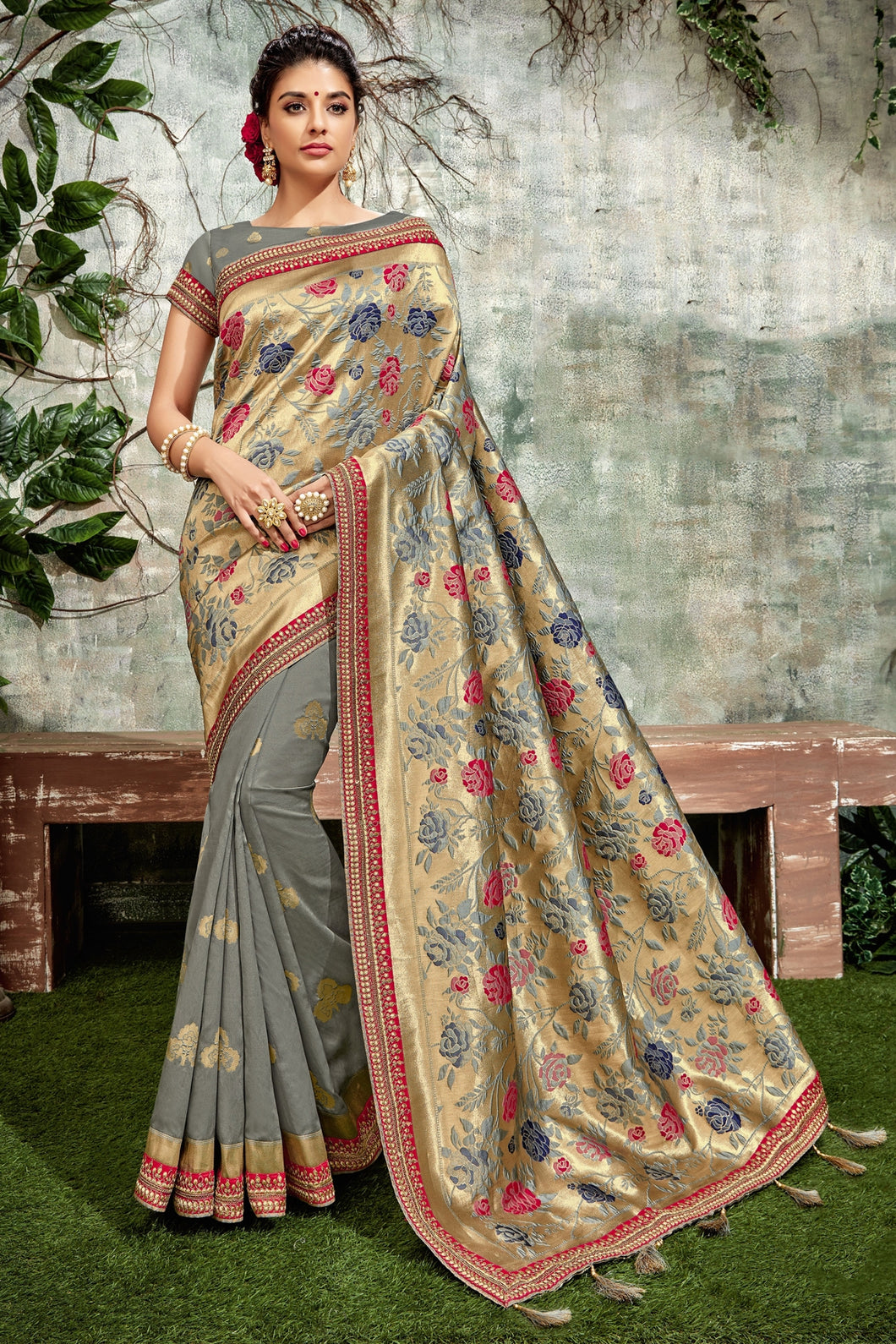Bhelpuri Grey & Gold Silk Tassel Woven Designer Party Wear Saree with Silk Embroidered Blouse Piece