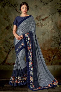 Bhelpuri Grey & Navy Blue Lycra Designer Lace Border Saree with Blouse Piece