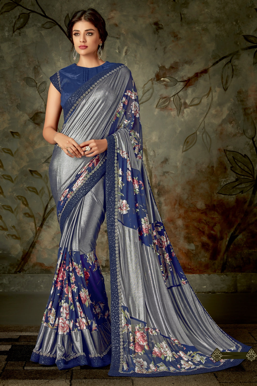 Bhelpuri Blue & Silver Lycra Designer Lace Border Saree with Blouse Piece