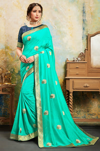 Bhelpuri Green Poly Silk Embroidered Saree with Blouse Piece