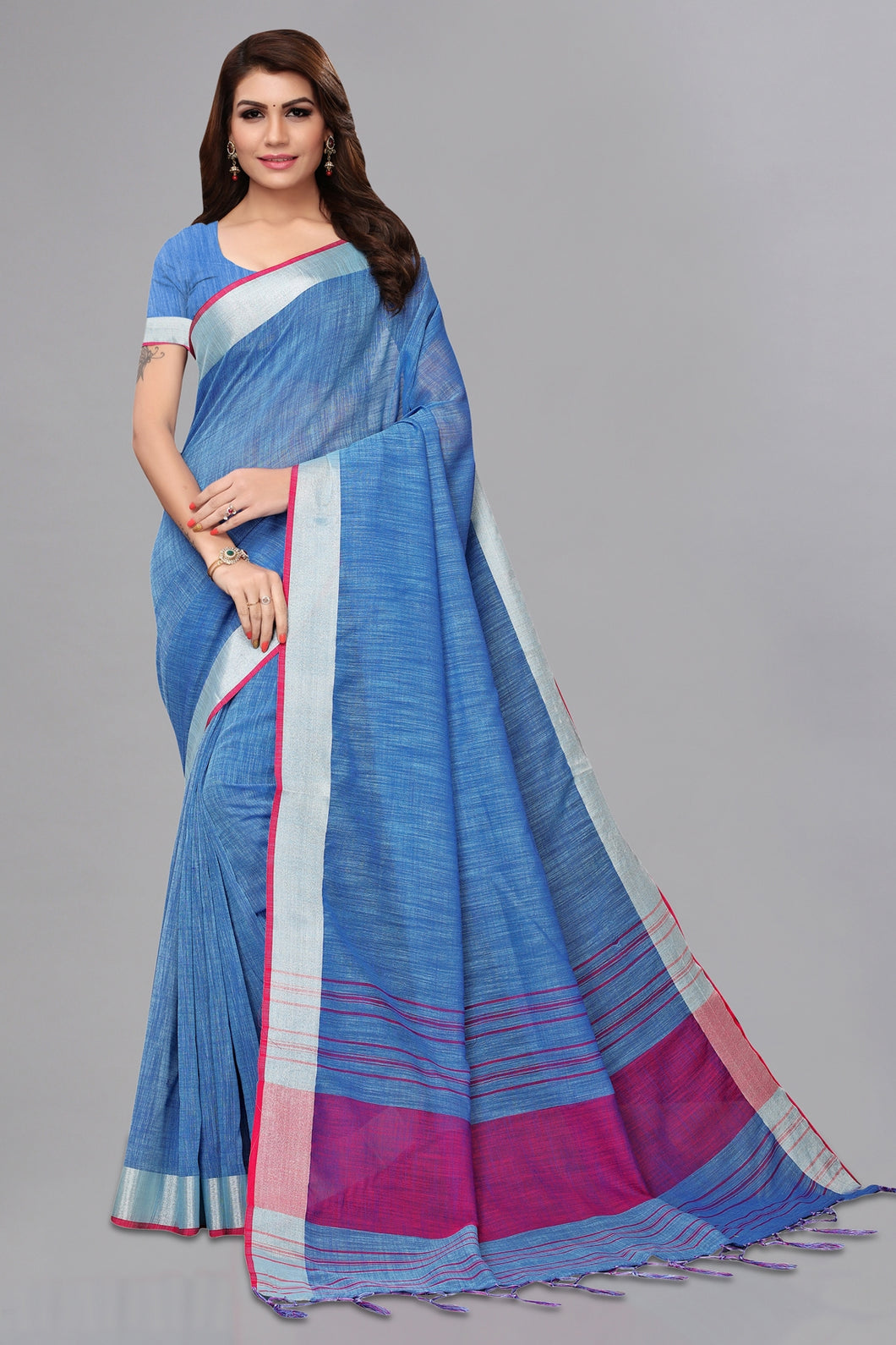 Bhelpuri Blue Casual Wear Linen Saree with Blouse Piece