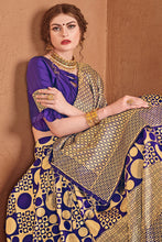 Load image into Gallery viewer, Bhelpuri Blue & Gold Banarasi Art Silk Saree