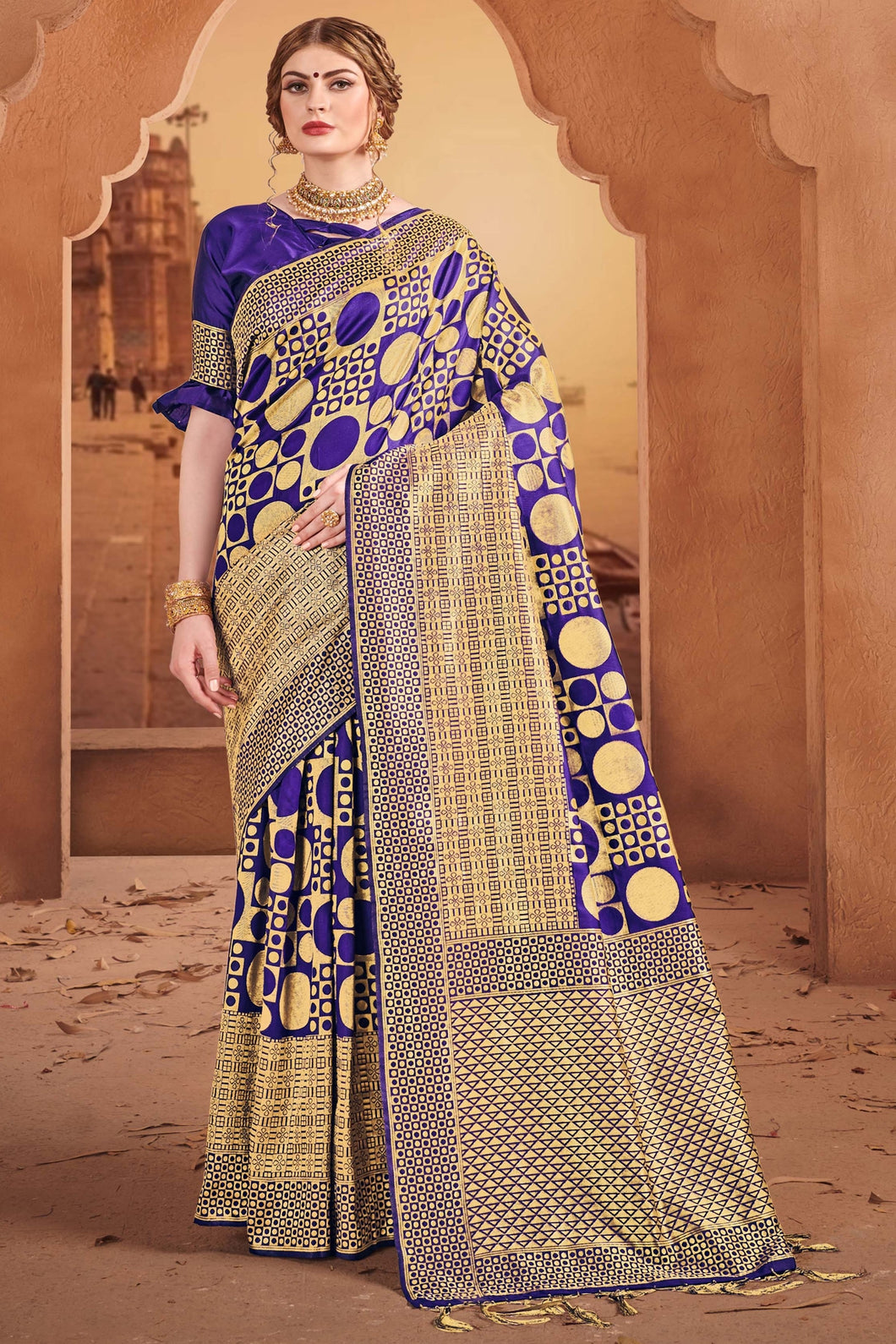 Bhelpuri Blue & Gold Banarasi Art Silk Saree