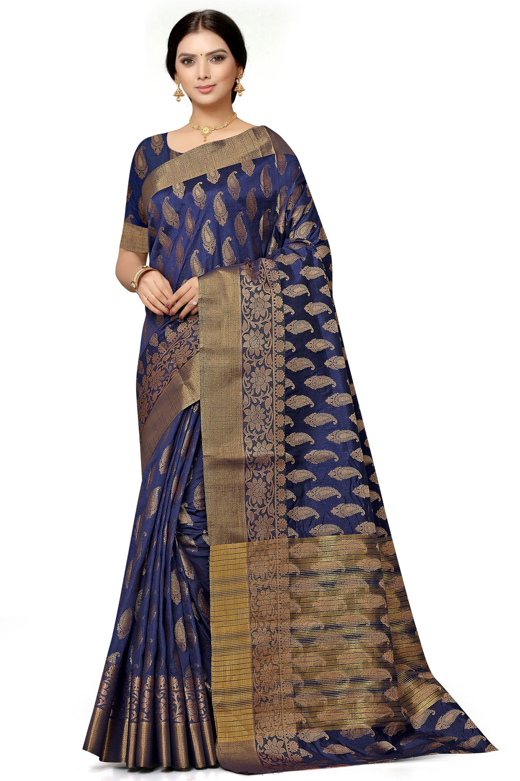 Bhelpuri Navy Blue Poly Dupion  Weaving With Jacquard Work Saree with Blouse Piece