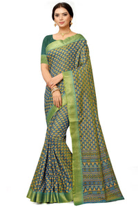 Bhelpuri Green Poly Dupion Weaving With Jacquard Work Saree with Blouse Piece