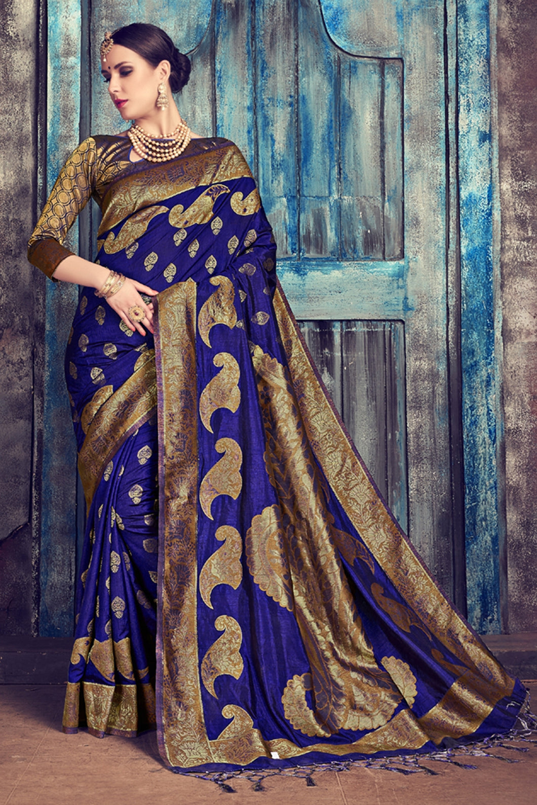 Bhelpuri Navy Blue Nylon Silk Tassel Woven Saree with Gold Nylon Silk Blouse Piece