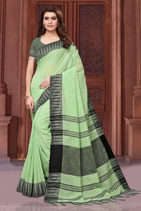 Bhelpuri Light Green Casual Wear Linen Saree with Blouse Piece