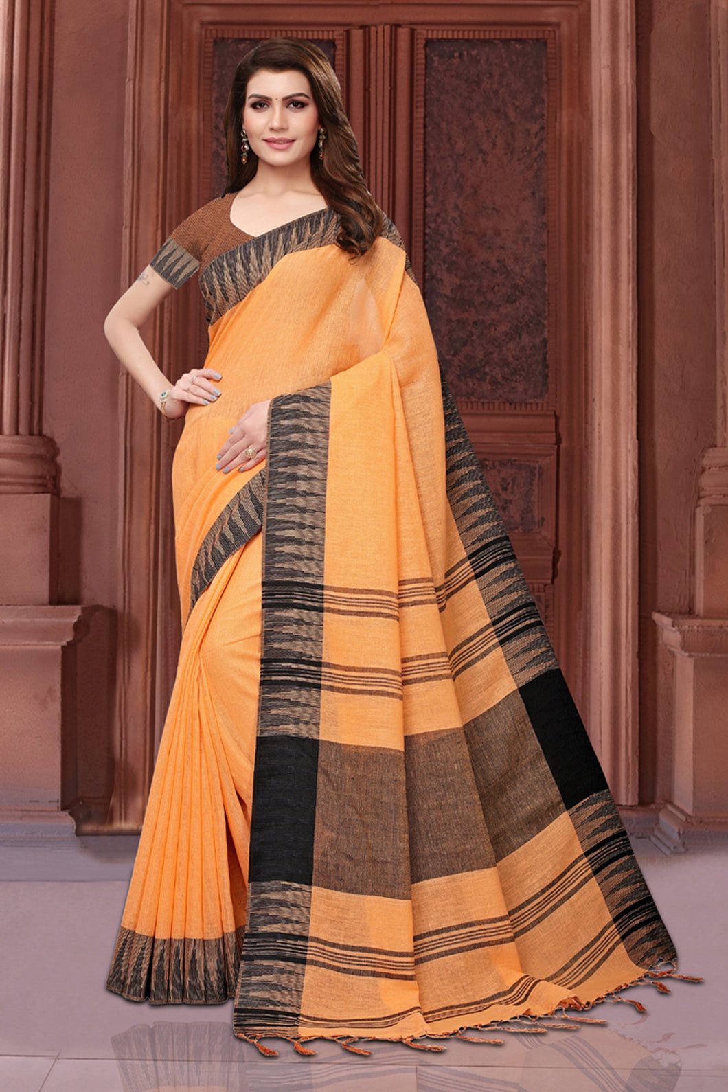 Bhelpuri Orange Casual Wear Linen Saree with Blouse Piece