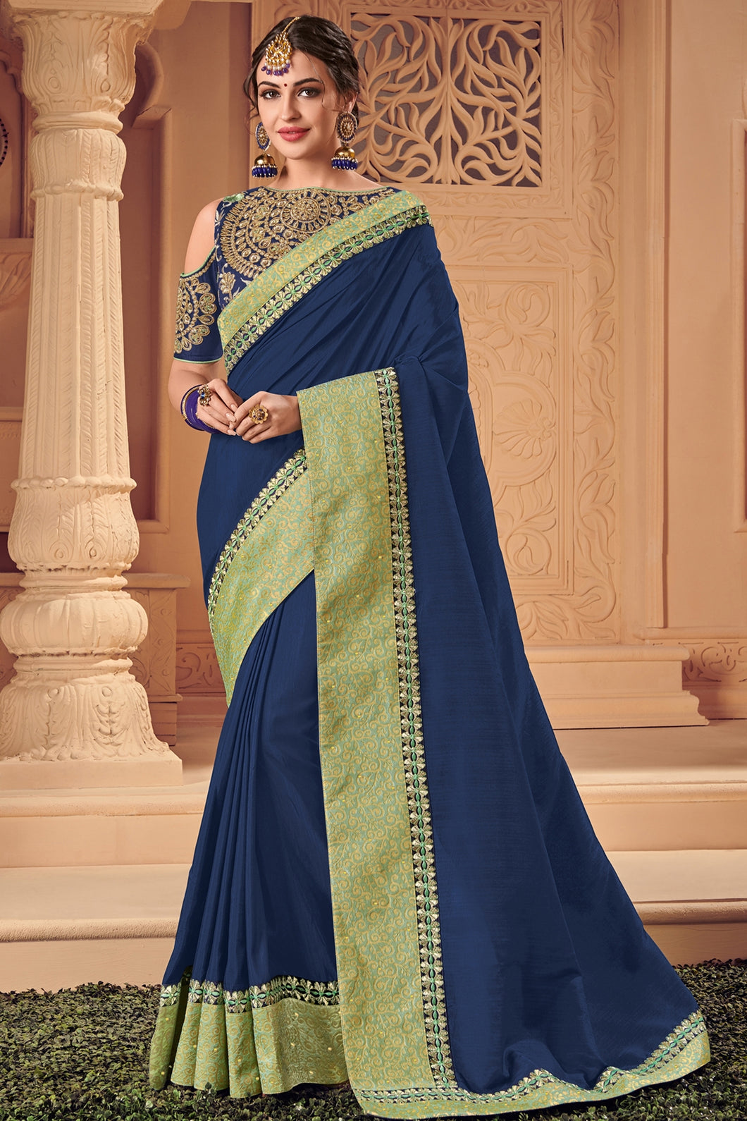 Bhelpuri Navy Blue Raw Silk Heavy Designed Saree with Blouse Piece