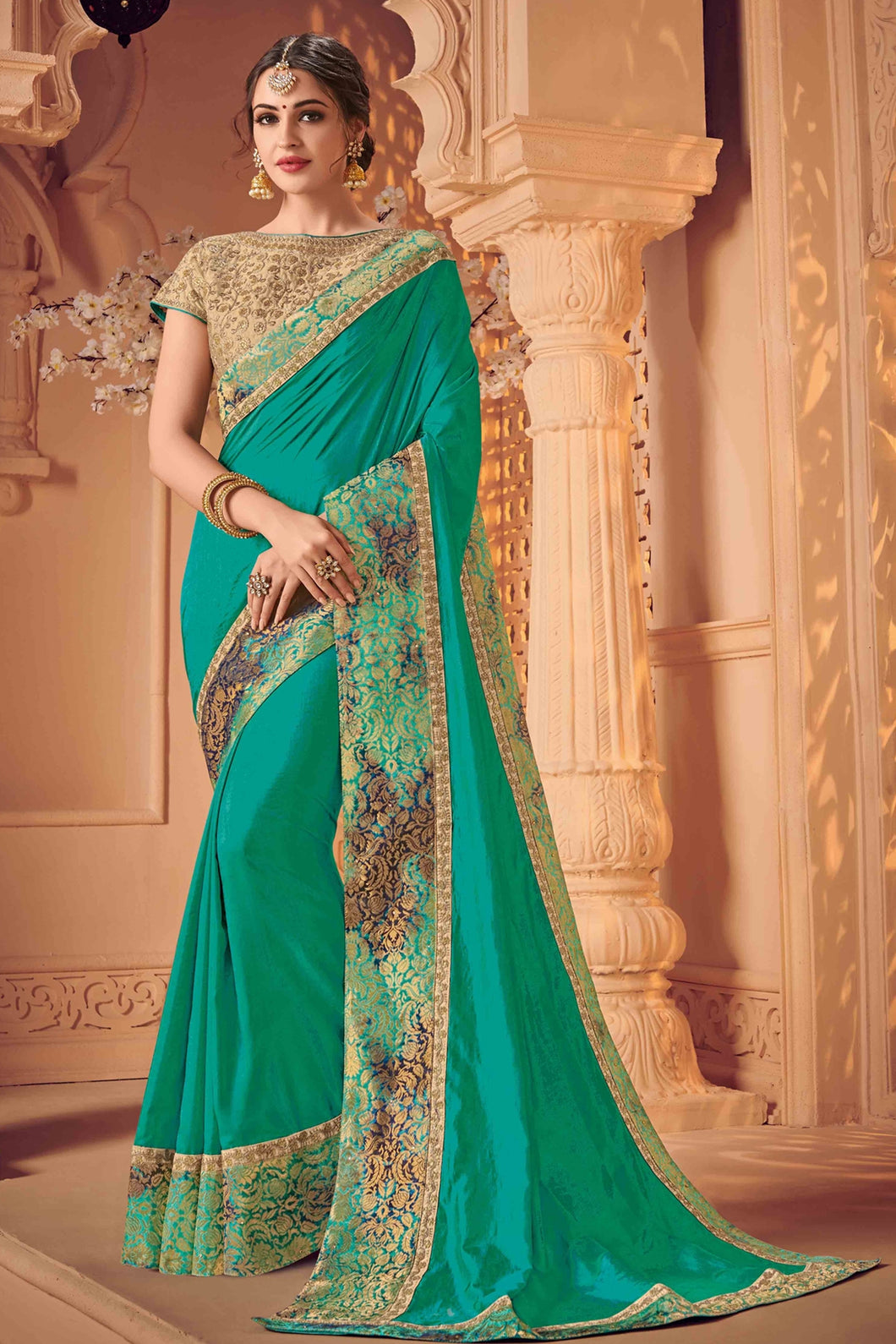 Bhelpuri Green Raw Silk Heavy Designed Saree with Blouse Piece