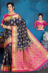 Bhelpuri Navy Blue and Pink Art Silk Zari Woven Saree with Blouse Piece