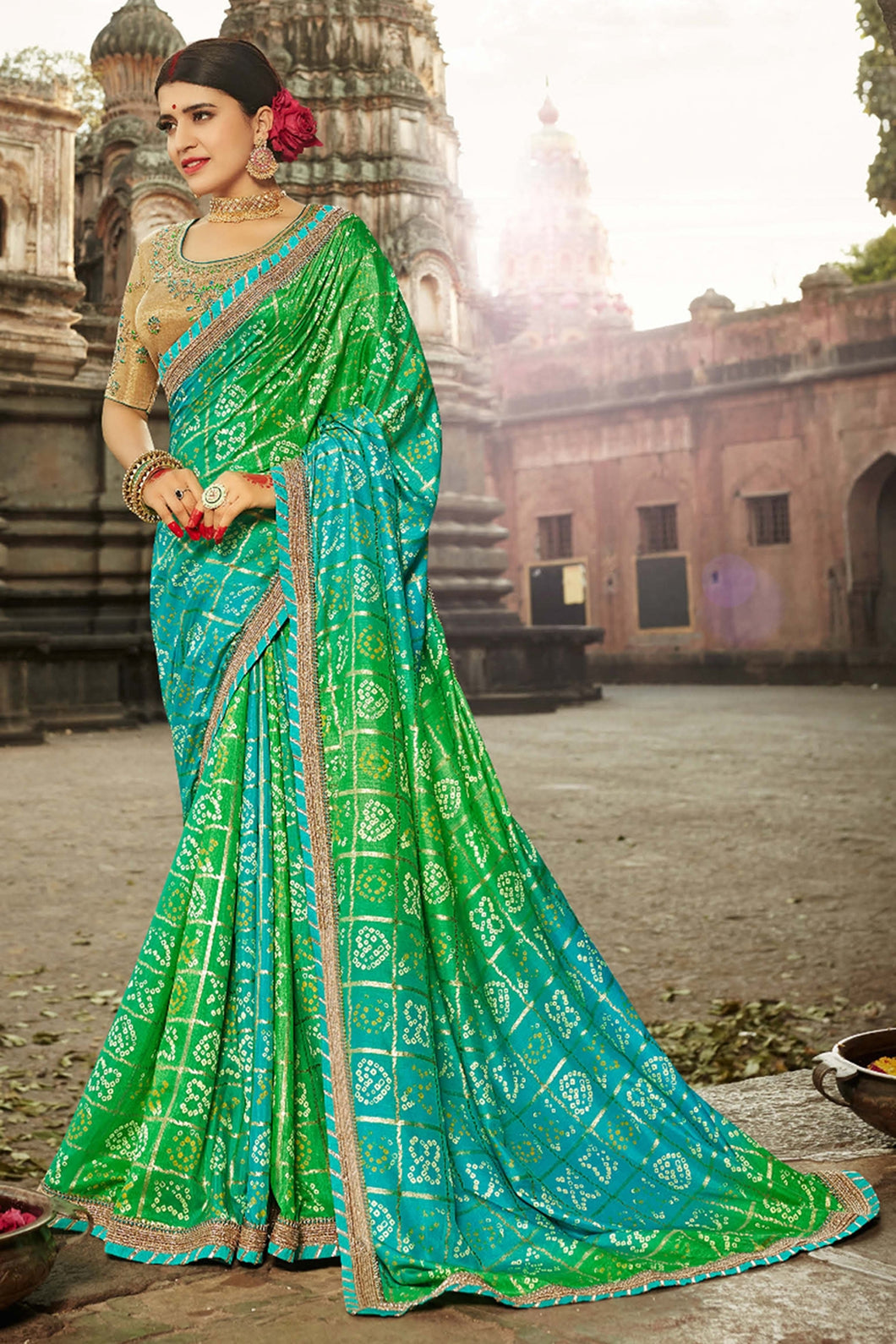 Bhelpuri Green Dola Silk Saree