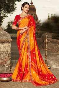 Bhelpuri Multi Colour Dola Silk Saree
