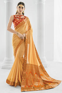 Bhelpuri Cream Printed Party Wear Silk Saree with Blouse Piece