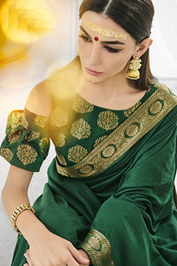 Bhelpuri Green Printed Party Wear Silk Saree with Blouse Piece