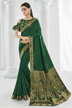 Load image into Gallery viewer, Bhelpuri Green Printed Party Wear Silk Saree with Blouse Piece