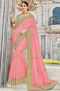 Bhelpuri Baby Pink Raw Silk Embroidered Designer Party Wear Saree with Raw Silk Blouse Piece