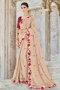 Bhelpuri Beige Georgette Embroidered Designer Party Wear Saree with Raw Silk Blouse Piece