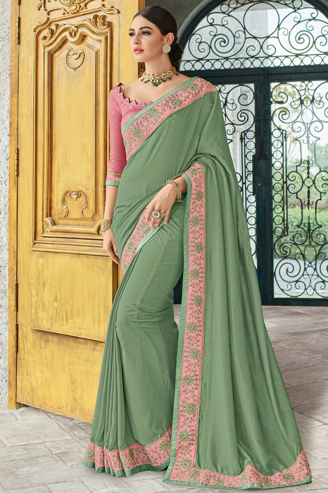 Bhelpuri Green Raw Silk Embroidered Lace Border Designer Party Wear Saree with Raw Silk Blouse Piece