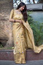 Load image into Gallery viewer, Bhelpuri Beige Banarasi Silk Designer Zari Woven Saree with Silk Blouse Piece