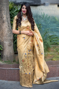 Bhelpuri Beige Banarasi Silk Designer Zari Woven Saree with Silk Blouse Piece