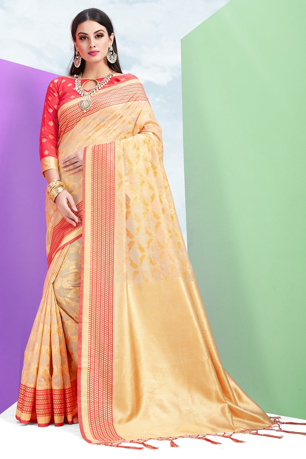 Bhelpuri Cream Nylon Silk Tassel Woven Saree with Red Nylon Silk Blouse Piece
