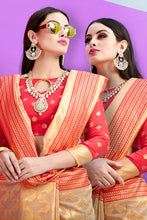 Load image into Gallery viewer, Bhelpuri Cream Nylon Silk Tassel Woven Saree with Red Nylon Silk Blouse Piece