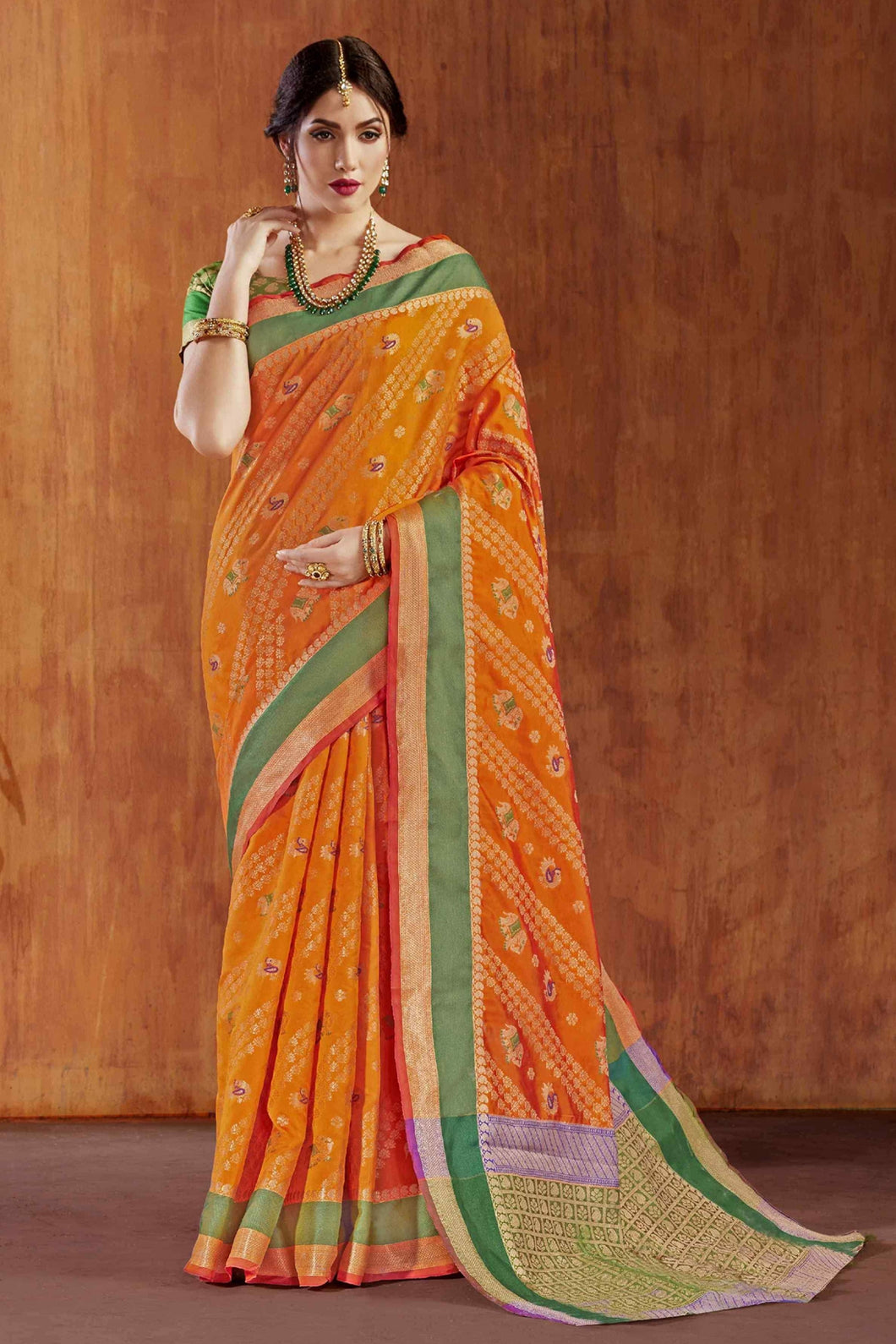 Bhelpuri Orange Silk Saree