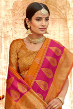 Load image into Gallery viewer, Bhelpuri Mustard & Pink Silk Base Saree