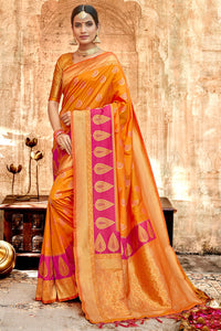 Bhelpuri Mustard & Pink Silk Base Saree