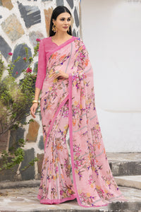 Bhelpuri Baby Pink Georgette Printed Saree with Blouse Piece