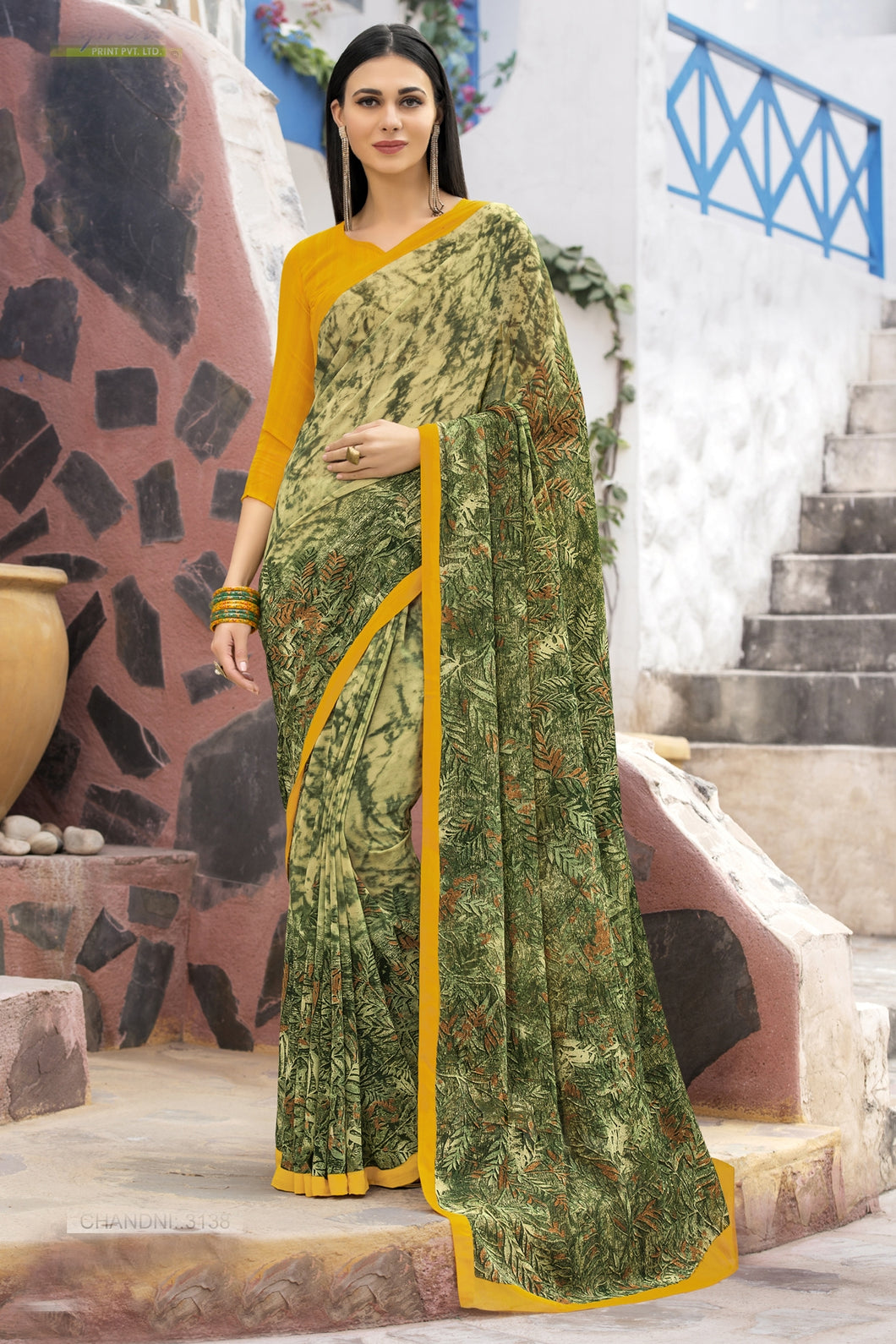 Bhelpuri Mehendi Green Georgette Printed Saree with Blouse Piece
