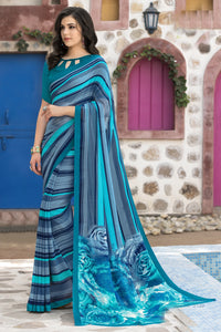 Bhelpuri Grey & Blue Georgette Printed Saree with Blouse Piece