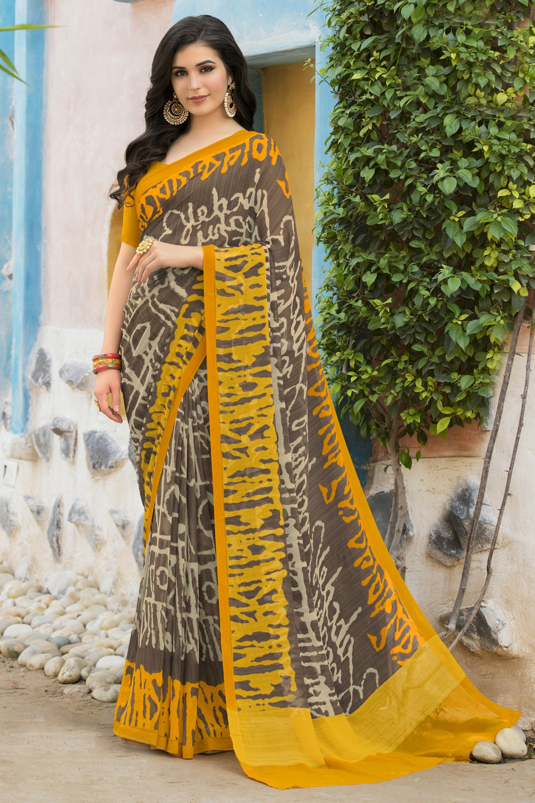 Bhelpuri Grey & Yellow Georgette Printed Saree with Blouse Piece