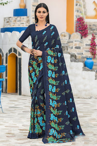Bhelpuri Navy Blue Georgette Printed Saree with Blouse Piece