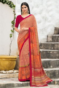 Bhelpuri Peach Georgette Printed Saree with Blouse Piece