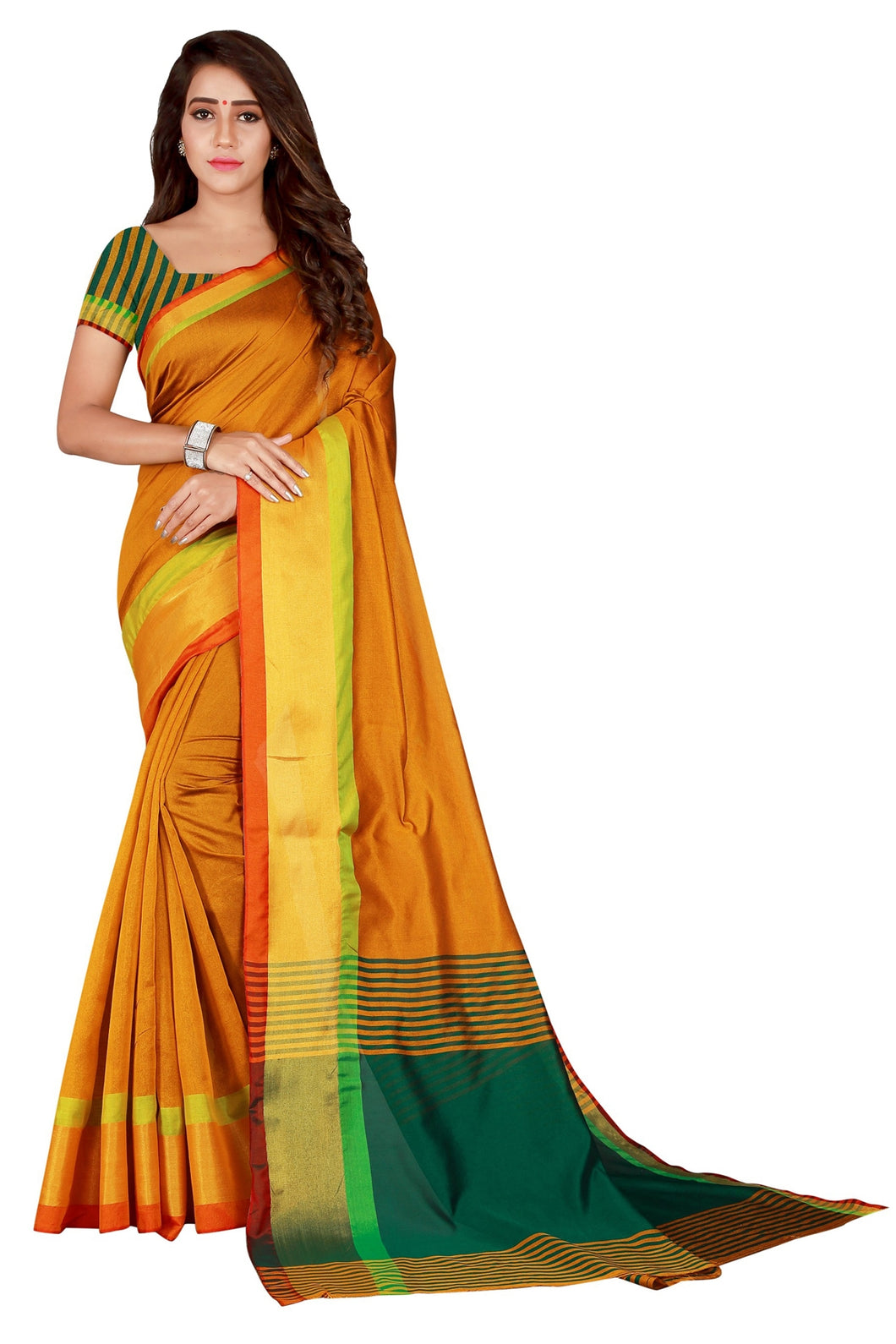 Bhelpuri Mustard Cotton Casual Wear Woven Saree with Blouse Piece