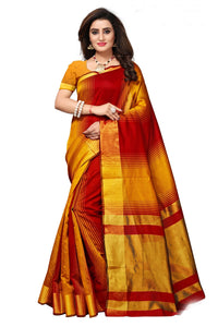 Bhelpuri Mustard & Red Cotton Casual Wear Woven Saree with Blouse Piece