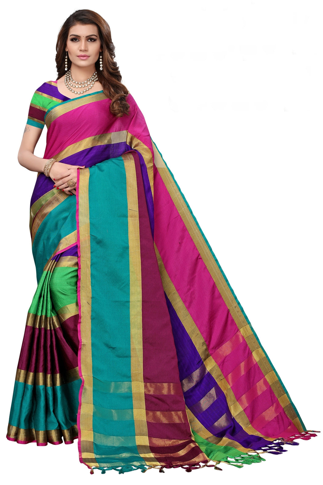 Bhelpuri Multicolour Cotton Casual Wear Woven Saree with Blouse Piece